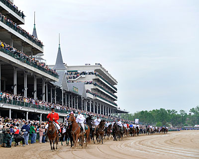 The horses head to the track for the 135th running of the Kentucky Derby.