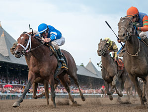 Alpha and Golden Ticket deadheat in the 2012 Travers.