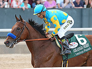 American Pharoah wins the Arkansas Derby.