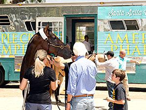 American Pharoah arrives at Santa Anita June 18, 2015.