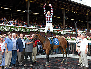 Aventure Love wins an allowance on July 18, 2014 at Saratoga with Frankie Dettori aboard.