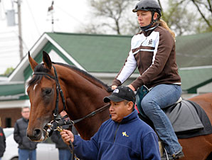 Big Brown headed to the track at Churchill Downs April 29.