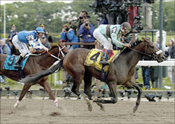 Birdstone Upsets Smarty Jones in Belmont