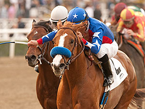 Blueskiesnrainbows wins the 2014 San Pasqual Stakes.