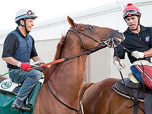 California Chrome and Victor Espinoza at Los Alamitos on August 22, 2014.