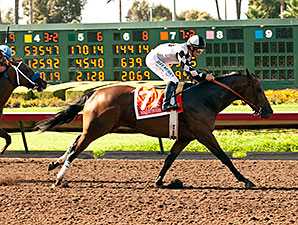 Doinghardtimeagain wins the 2014 Great Lady M Stakes.