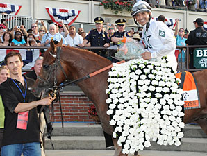 Drosselmeyer in the Winner's Circle after winning the 2010 Belmont Stakes.