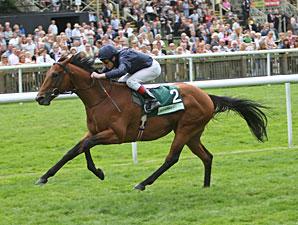 Duke of Marmalade pulls away in the Juddmonte International.