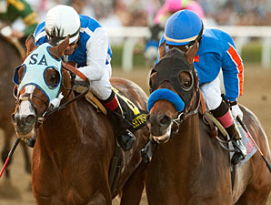 Game On Dude wins the 2011 Santa Anita Handicap.