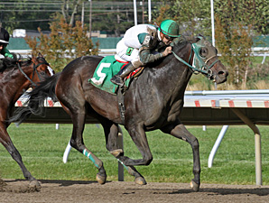 Geeky Gorgeous wins the 2013 New Jersey Breeders Handicap.