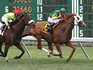 Get Serious wins the 2010 Oceanport Stakes.
