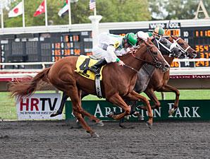 Gold Edge wins the 2012 Arlington-Washington Lassie.