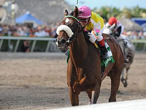 Grace Hall wins the 2012 Gulfstream Oaks.