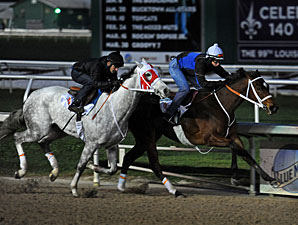 Havre de Grace and Joyful Victory work at the Fair Grounds 3/5/3012.
