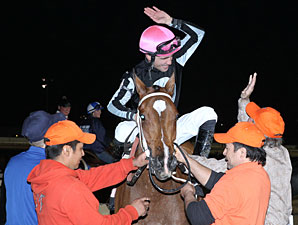 Hometown Gossip wins the 2012 Louisiana Jewel.
