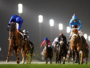 Hunter's Light wins the 2015 Dubai Millennium Stakes.