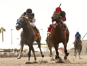 Jedi Mind Trick, left, wins the I'm Smokin Stakes.