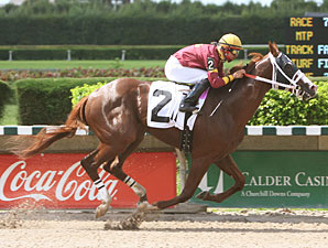 Little Drama wins the 2010 Frank Gomez Memorial Stakes.