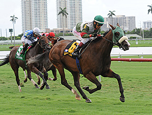 Madame Giry wins the 2014 Bob Umphrey Turf Sprint Stakes.