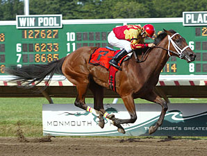 Maren's Meadow cruises to victory in the Monmouth Oaks under Terry Thompson.
