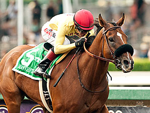 Masochistic wins the 2015 Triple Bend Stakes.