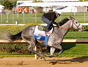 Midnight Lucky, with Dana Barnes up, works towards the Kentucky Oaks.