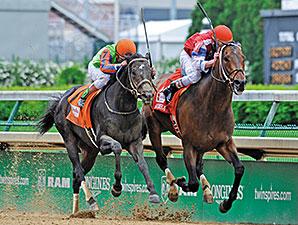 Moonshine Mullin wins the 2014 Alysheba Stakes.