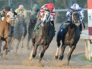 Old Fashioned (red silks) duels with Silver City as they enter the stretch in the Feb. 16 Southwest Stakes.