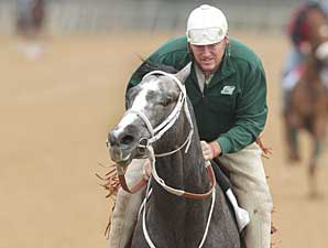 Old Fashioned gallops with trainer Larry Jones aboard on March 5 at Oaklawn Park