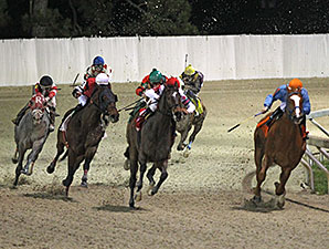 One King's Man wins the 2015 LA Bred Premier Night Championship Stakes.