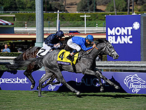 Outstrip Runs Down Leaders to Win Juv. Turf