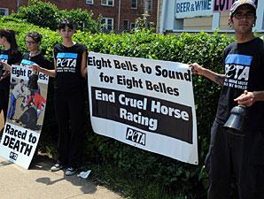 PETA Demonstrates Outside Pimlico Gates