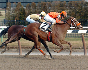Paint Me Red comes from off the pace under Ramon Dominguez to win her first stakes race.