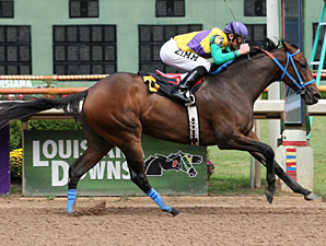 Pass It Down with Ramsey Zimmerman aboard wins the Louisiana Stallion Stakes (Filly Division) at Louisiana Downs.