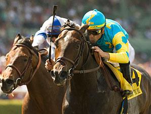 Pioneerof the Nile wins the 2009 Santa Anita Derby.