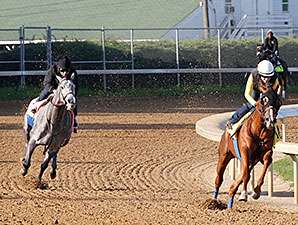 Power Broker and Midnight Lucky at Churchill Downs 4/22/2013.