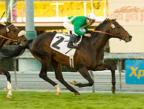 Proudinsky, with Rafael Bejarano aboard, wins the San Gabriel Dec. 28 at Santa Anita