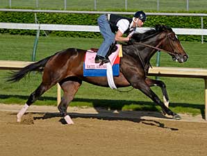 Rachel Alexandra works at Churchill Downs on April 27