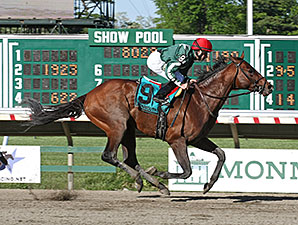 Red Vine wins the 2015 Majestic Light Stakes.