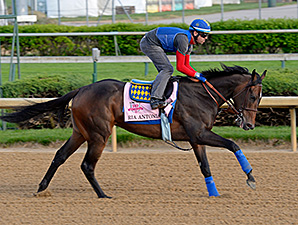 Ria Antonia preps for the Kentucky Oaks April 27.