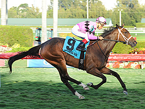 Room Service wins the Herecomesthebride Stakes.