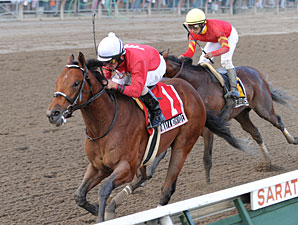 Run Away and Hide pulls away from Break Water Edison to take the Saratoga Special.