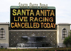 Santa Anita Cancels Monday Card