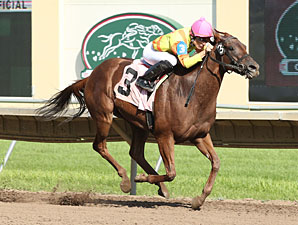 Second Street City wins the 2013 Hoist Her Flag Stakes.