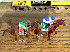 Shackleford beats Animal Kingdom to win the Preakness Stakes.
