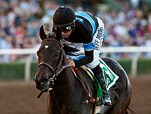 Shared Belief wins the 2015 Santa Anita Handicap.