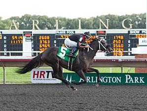 She's Offlee Good wins the 2013 Arlington-Washington Lassie Stakes.