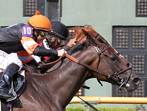 Skipping Town (orange cap) wins the 2011 LA Cup Distaff.