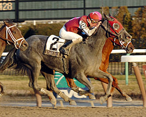 Stage Luck surges late to outfinish pacesetter Aliysa for a neck win in the Affectionately Handicap.