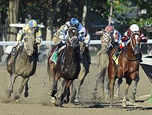 Stopchargingmaria wins the Shuvee Stakes.